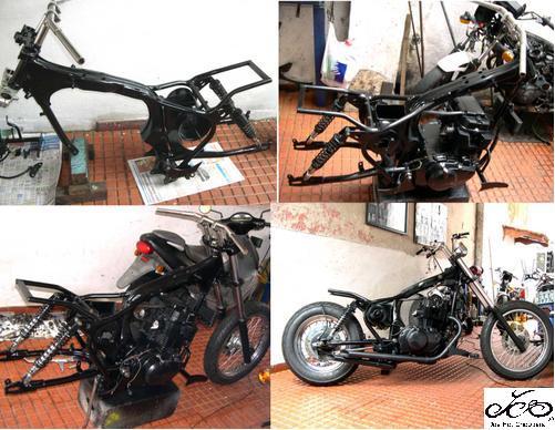 O quadro da moto foi todo refeito , aproveitando somente sua numeração. / The motorcycle was part of the whole rewritten, taking only their number.